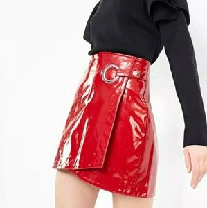 Dresses & Skirts - NOWT Asymmetrical faux leather skirt